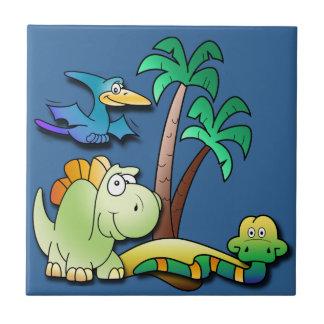 Amigos del dinosaurio azulejo cuadrado pequeño