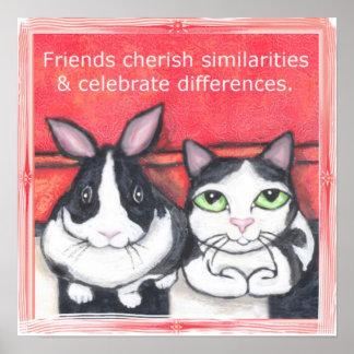 Amigos del gato del conejo y del smoking de coneji póster