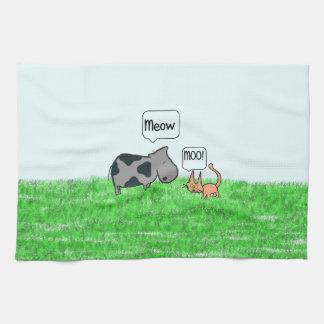 Amigos del gato y de la vaca toallas de mano