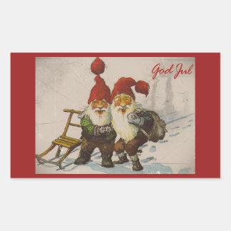 Amigos del gnomo del navidad pegatina rectangular