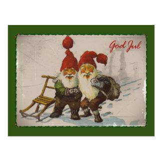 Amigos del gnomo del navidad postal