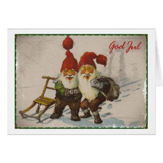 Amigos del gnomo del navidad tarjetón