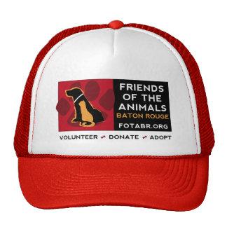 Amigos del logotipo horizontal de los animales en  gorras de camionero