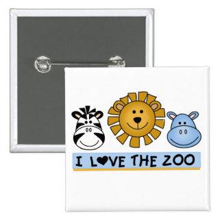 Amigos del parque zoológico pin cuadrado