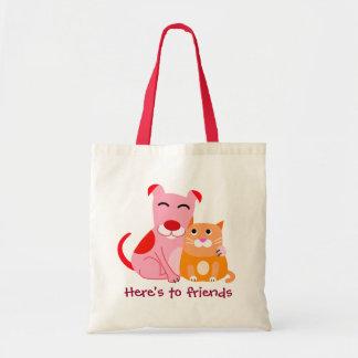 Amigos del perro y del gato bolsa tela barata