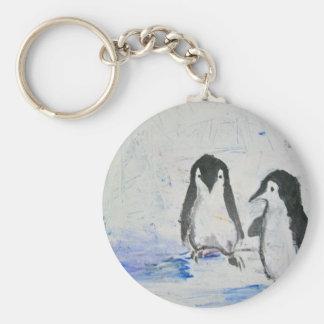 Amigos del pingüino llavero redondo tipo pin