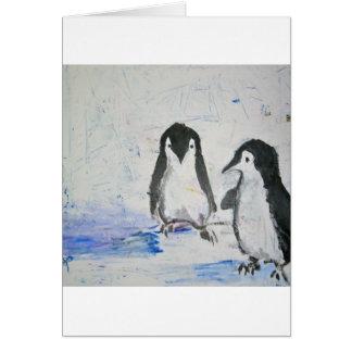 Amigos del pingüino tarjeta de felicitación