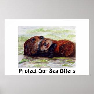 Amigos del poster de la nutria de mar