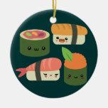 Amigos del sushi adorno redondo de cerámica