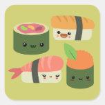 Amigos del sushi pegatina cuadradas personalizadas
