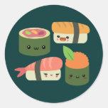 Amigos del sushi pegatina redonda