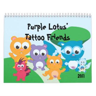Amigos del tatuaje de los lotos púrpuras calendarios de pared