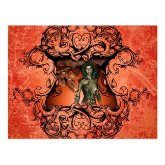 Amigos, dragón con el combatiente en un marco tarjetas postales