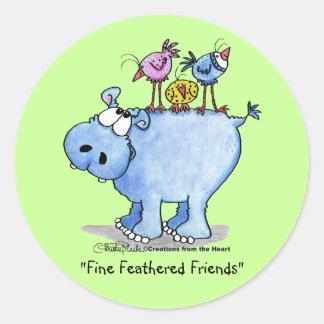 Amigos emplumados multa del Hipopótamo Pegatinas Redondas
