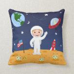Amigos en el espacio, almohada linda del personali