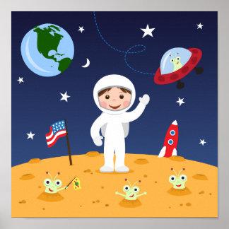 Amigos en el espacio, arte lindo de la pared del d impresiones