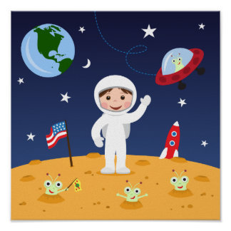 Amigos en el espacio, arte lindo de la pared del póster