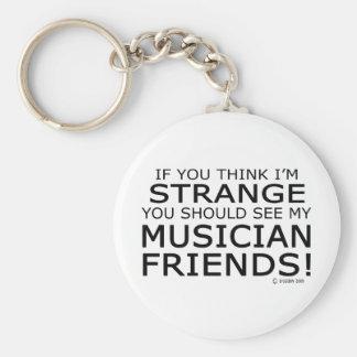 Amigos extraños del músico llavero redondo tipo pin