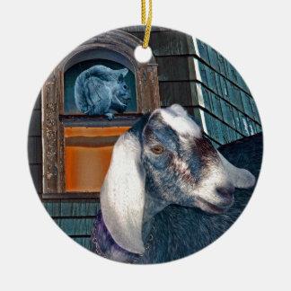 Amigos fantasía linda de la cabra del Victorian y Adorno Redondo De Cerámica
