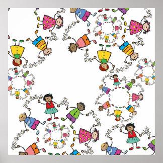 Amigos felices lindos de los niños del dibujo anim póster