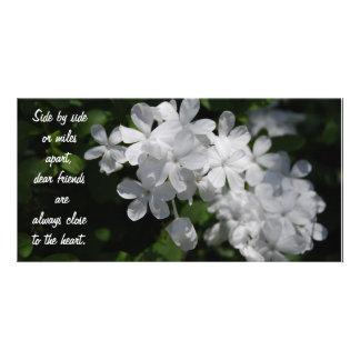 Amigos, flores blancas tarjeta fotografica personalizada
