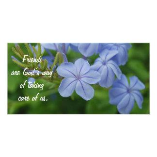 Amigos - flores púrpuras tarjeta personal con foto