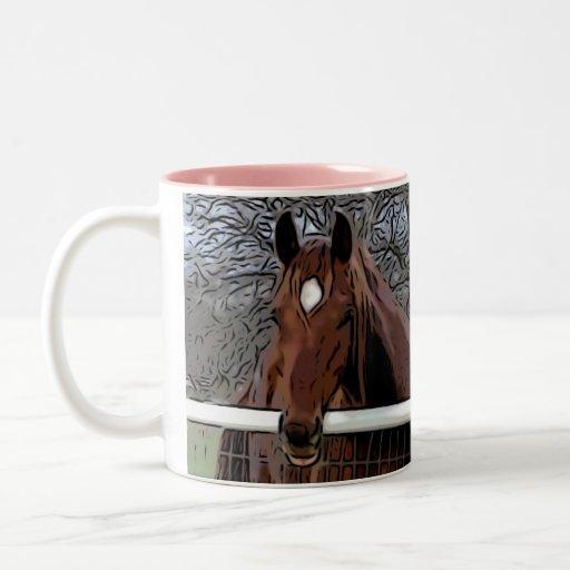 Amigos hermosos del caballo taza dos tonos