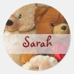Amigos lindos del oso de peluche etiquetas redondas