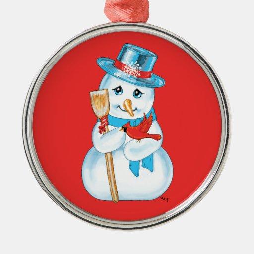 Amigos muñeco de nieve y cardenal adorables del adorno navideño redondo de metal