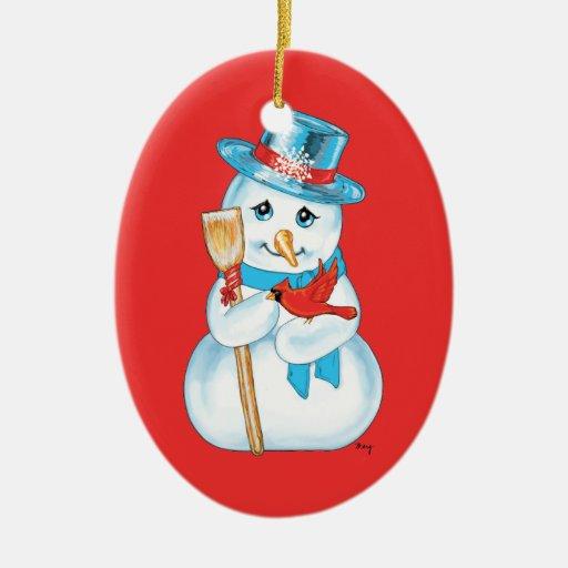 Amigos muñeco de nieve y cardenal adorables del adornos