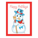 Amigos muñeco de nieve y cardenal adorables del in postal