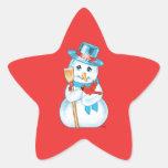 Amigos muñeco de nieve y cardenal adorables del pegatina en forma de estrella