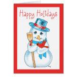 Amigos muñeco de nieve y cardenal adorables del tarjeta de felicitación
