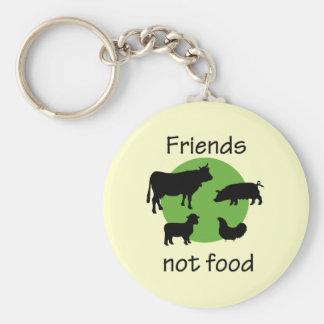 Amigos, no comida llaveros personalizados
