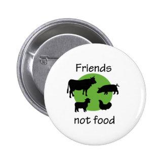 Amigos, no comida pin redondo de 2 pulgadas