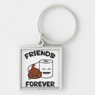 Amigos para siempre - impulso y rollo del papel llavero cuadrado plateado