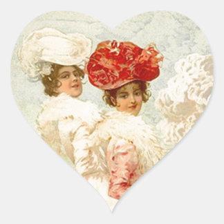 Amigos preciosos de la ropa del Victorian del Pegatina En Forma De Corazón