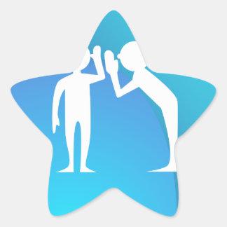 Amigos que comparten un secreto pegatina en forma de estrella