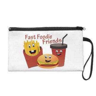 Amigos rápidos sonrientes de Foodie