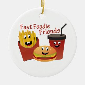 Amigos rápidos sonrientes de Foodie Adorno Redondo De Cerámica