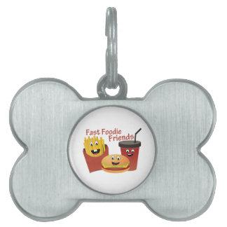 Amigos rápidos sonrientes de Foodie Placas De Mascota