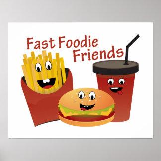 Amigos rápidos sonrientes de Foodie Póster