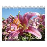 ¡AMIGOS! Regalos del navidad de las flores de los Calendarios De Pared