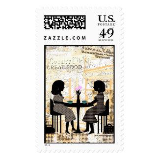 Amigos urbanos de la cafetería del collage timbres postales