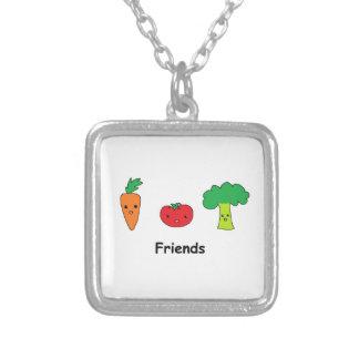Amigos vegetales felices colgante cuadrado