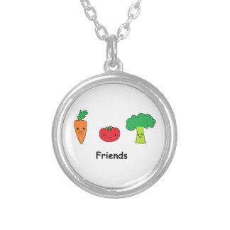 Amigos vegetales felices colgante redondo
