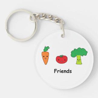 Amigos vegetales felices llavero redondo acrílico a una cara