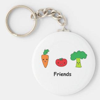 Amigos vegetales felices llavero redondo tipo pin