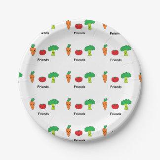 Amigos vegetales felices platos de papel