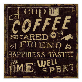 Amigos y café póster